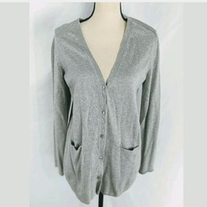 J.Jill Button Down Cardigan With Pockets, Gray, S